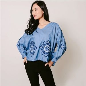 INA blue chambray embroidered top
